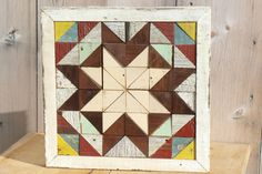 wooden barn quilt geometric art salvaged por IlluminativeHarvest