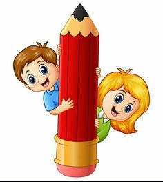 Vector illustration of Cartoon kids holding pencil School Board Decoration, School Decorations, School Cartoon, Cartoon Kids, Cartoon Memes, Cartoon Art, Cartoon Characters, Art Wall Kids, Art For Kids