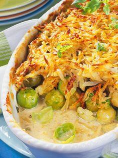 leckerer Rosenkohl-Auflauf mit Kartoffelkruste