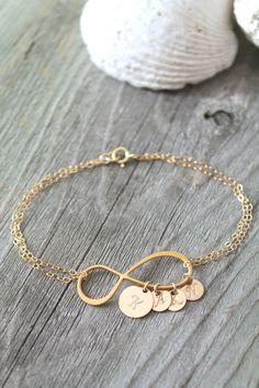 Personalized Mother Mom 14k gold filled Infinity bracelet