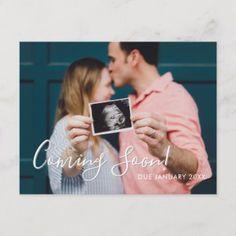 Modern Script Coming Soon Announcement Postcard Pregnancy Third Pregnancy, Pregnancy Tips, Pregnancy Photos, Pregnancy Announcements, Women Pregnancy, Pregnancy Belly, Pregnancy Jeans, Pregnancy Classes, Weekly Pregnancy