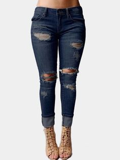 Blue High-waisted Ripped Skinny Jeans with Classic Five Pocket