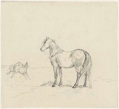 Christiaan Wilhelmus Moorrees | Drie paarden in een wei, Christiaan Wilhelmus Moorrees, 1811 - 1867 | Ontwerp voor een prent.