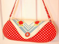 Vintage Tablecloth and Polka Dots Purse for Patrice RESERVED
