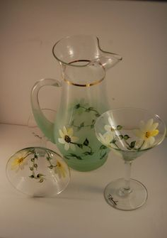 Hand Painted Pitcher with Matching Daisy Design by TerrysTalents