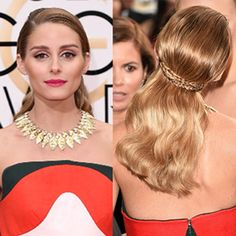 Olivia's Golden Globes hairstyle combines old Hollywood-inspired waves with a 3-strand braid. Here's how to recreate the look at home.