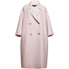 Rochas Pink Double Wool Mohair Coat (€3.920) ❤ liked on Polyvore featuring outerwear, coats, pink slip, pink wool coat, woolen coat, wool coat and pink coat