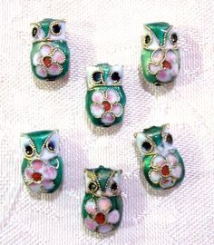 Green & Pink Owl Beads