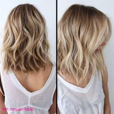 two images showing a woman with blonde hair, with waves and light blonde balayage, medium length hairstyles for thin hair, white sheer tank top, over a black bustier hair lengths + Ideas for Stunning Medium and Short Hairstyles For Fine Hair Haircut For Thick Hair, Curly Hair Cuts, Short Hair Cuts, Curly Hair Styles, Lob Haircut Thin, Thick Hair Long Bob, Medium Thick Hair, Bobs For Thick Hair, Curly Hair Bob Haircut