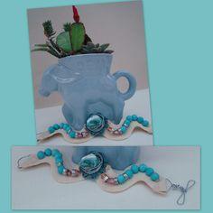 My donations for the Jackson Day's auction - handmade rickrack, turquoise, crystal bracelet.  1986 Frankoma vintage Democrat mug transformed into a mini succulent garden.