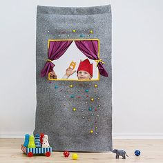 """Waldorf style, wool felt doorway puppet theater """"Caribbean dream"""" Puppet show stage/ Pretend play/ Kids party decorations/ Felt puppets Puppet Show Stage, Puppet Show For Kids, Felt Puppets, Felt Kids, Little Theatre, Kids Party Decorations, Colorful Curtains, Pretend Play, Doorway"""