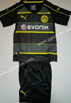 35f69bee10a0 topjersey provides cheap and quality 2016 17 Borussia Dortmund Away Black  Kids Youth Soccer