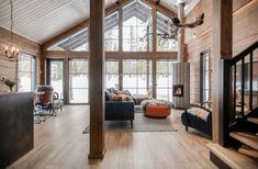 Modern Log Cabins, Log Home Kitchens, Log Home Interiors, Log Cabin Designs, Local Builders, Prefabricated Houses, Log Cabin Homes, House Design, Inspiration
