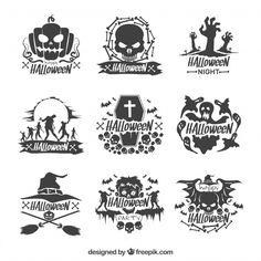 Set of decorative hand drawn halloween stickers Free Vector
