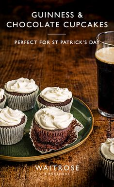 Patrick& Day this weekend with Guinness and chocolate cupcakes. A velvety, rich bake resembling frothy little pints. Tap to see the full Waitrose & Partners recipe. Cake Mix Recipes, Cupcake Recipes, Cupcake Cakes, Dessert Recipes, Guinness Cupcakes, Guinness Cake, Guinness Recipes, Delicious Desserts, Yummy Food