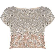 Coast Iridesa Top (€115) ❤ liked on Polyvore featuring tops, shirts, crop tops, t-shirts, pinks, crop top, pink top, beaded crop top, sequin top and sequin crop top