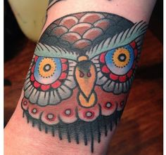 "Owl hand tattoo traditional by ""Eli falconette"" @eli_falconette on IG"