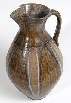 """Southern Folk Pottery-Kim Ellington-Pitcher with glass runs, 17"""""""