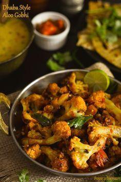 Aloo gobhi dhaba style Potato and cauliflower curry cooked dhaba style! , Aloo gobhi dhaba style Potato and cauliflower curry cooked dhaba style! Vegetarian Curry, Vegetarian Recipes, Cooking Recipes, Healthy Recipes, Indian Food Recipes, Asian Recipes, Veg Recipes Of India, Gourmet, Vegans