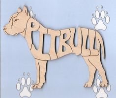 Pit Bull Pitbull wood laser cut and engraved magnet Free Shipping