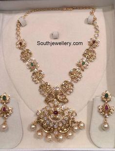 Nakshi peacock Pacchi Necklace Set photo