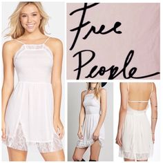 """Free People Lace Inset Slip Dress.  NWT. Free People White Lace Inset Slip Dress, 100% rayon, machine washable, 17.5"""" armpit to armpit (35"""" all around), 30"""" unstretched elastic waist which stretches up to 34"""", 38"""" length, unlined, pullover, measurements are approx. Free People Dresses Mini"""