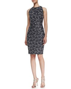 Sleeveless Embroidered Loop Cocktail Dress, Midnight/Silver by Carmen Marc Valvo at Bergdorf Goodman.