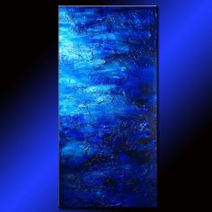 """Original Thick Texture Blue Abstract Painting Contemporary Modern fine art SIZE: 48""""X24""""X1.58"""" (HIGH GLOSS FINISH ,HEAVY TEXTURE,MIXED MEDIA) TITLE : NIGHT BREEZE 3 MADE-TO-ORDER PAINTING - Made to Or"""