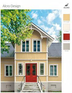 På bilderna har jag använt mig av den gula färgen 402 Houngsgul men i verkligheten hade jag nog istället valt att måla huset i en något mildare gul färg, till exempel 403 Cremegul, men denna färg tecknade sig inte så bra i färgprogrammet. Huset har idag en röd dörr på ena sidan och detta tycker jag att man ska behålla då röda dörrar är mest tidstypiskt för ett gult hus. Färgsättning av trähus från tidigt 1900-tal