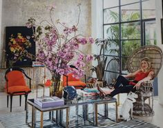 Renowned designer & events planer Fiona Leahy's print factory turned home... love the garden room feel to this fab. room...