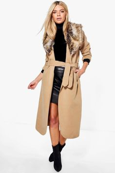 Sophie Shawl Faux Fur Collar Maxi Coat