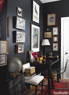 26 new ideas for home office design decor dark walls Home Design Decor, Home Office Design, Home Interior Design, Office Decor, Home Decor, Cozy Office, Office Designs, Wall Design, Modern Interior
