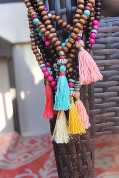 Peach Sorbet Beaded Tassel Necklace by shopjustpeachy on Etsy, $20.00