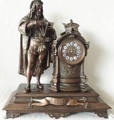 Rare Large Antique Bronze French Figural  Mantle Clock, Vincent Cie 1855. RD
