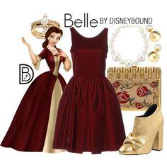 Belle by leslieakay on Polyvore featuring Alaïa, Morobé, Judith Leiber, Kenneth Jay Lane, Banana Republic, Yoko London, Christmas, disney, disneybound and disneycharacter