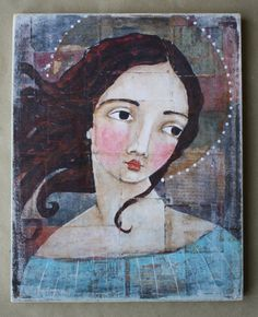 print on wood 1 mixed media saint by janespakowsky on Etsy, $35.00