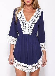 Blue V Neck Lace Crochet Hollow Dress 17.00 Casual Dresses For Women 9e0730240