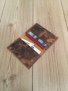 Passport wallet  leather thin wallet hand stitched by YelandNec