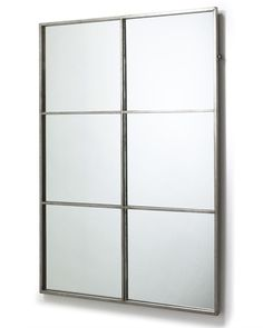 An elegant rectangular large window frame mirror, with minimal metal frame and antiqued silver finish. A decorative mirror for hallways, living rooms and bed Windows, Silver Frame, Window Frame Mirror, Metal Frame, Large Windows, Frame, Contemporary Mirror, Chic Mirror, Mirror