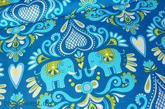 Hamburger Liebe Stretchjersey Elephant Love Blau