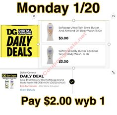 Good 1/20 only Body Butter, Shea Butter, Store Coupons, Dollar General, Daily Deals, Body Wash, Digital, Whipped Body Butter, Shower Gel