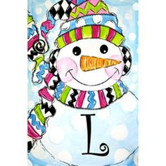 L Whimsy Snowman Monogram Double Sided Garden Flag