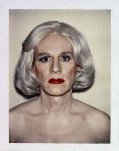 Self-portrait (polaroid) of Andy Warhol.
