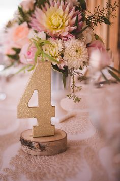 #gold #peach #pink #tablenumbers #reception #tabledecor #centrepieces #glitter #birch #lace #milkglass Gold Wedding, Floral Wedding, Reception Decorations, Table Decorations, Silver Sage, Centrepieces, Table Numbers, Stables, Milk Glass