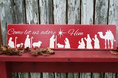 New DesignChristmas Come Let us Adore Him by OurWeatheredNest, $25.00