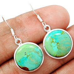 Blue Turquoise From Arizona 925 Sterling Silver Earrings Jewelry BMTE477 - JJDesignerJewelry