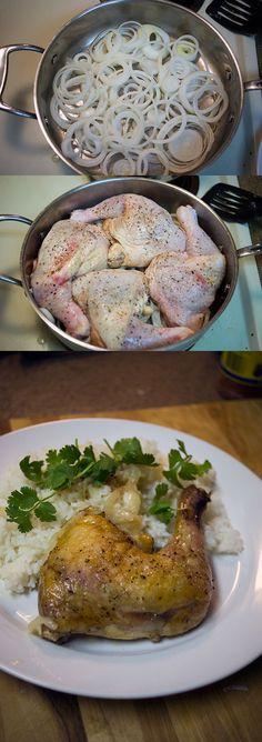 Baked Chicken Leg Quarters with Braised Onions, a one dish wonder