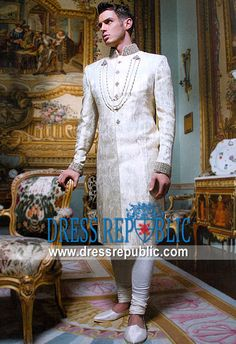, Bandhgalas, Long Sherwani, Embellished Sherwani, Embroidered Sherwani by www.dressrepublic.com