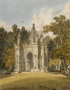 Joseph Mallord William Turner 'The Ancient Arch in Mr Wyndham's Garden, Salisbury', c.1800 - Watercolour, pen and ink and graphite on paper -  Dimensions Support: 318 x 432 mm -  © The British Museum