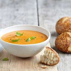 Tomato soup and sourdough rolls